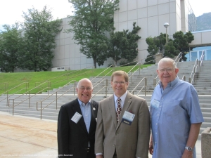 From left to right: Frederick E. Moss, legal advisor to the Federation of Genealogical Societies, David E. Rencher, and Glenn Kinkade of Dallas, Texas