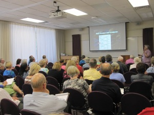 Mary E.V. Hill teaches participants how to organize their genealogy.