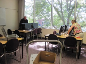 Yesterday Michael Provard and his wife prepared the computer lab for use throughout the week.